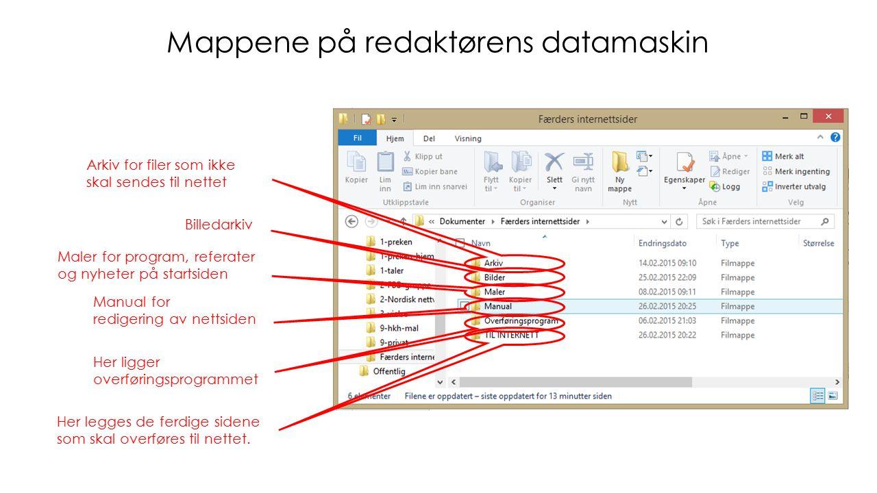 Mappene på redaktørens datamaskin Her legges de ferdige sidene som skal overføres til nettet.