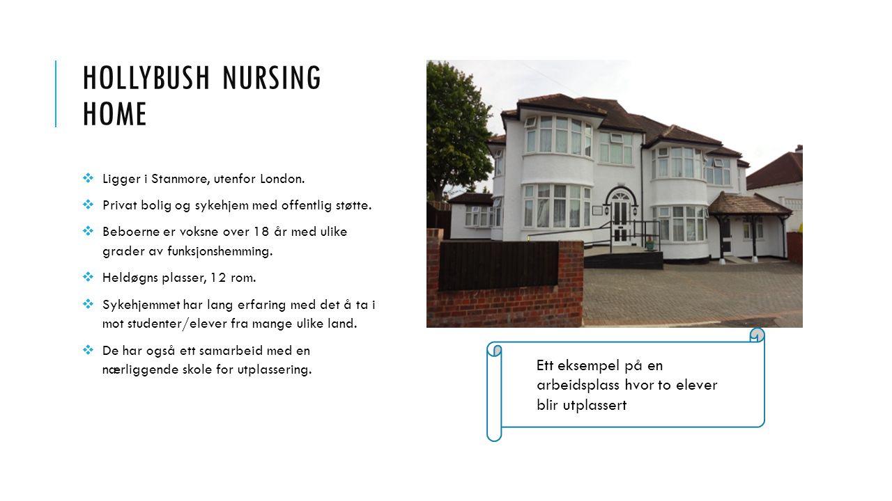 HOLLYBUSH NURSING HOME  Ligger i Stanmore, utenfor London.  Privat bolig og sykehjem med offentlig støtte.  Beboerne er voksne over 18 år med ulike
