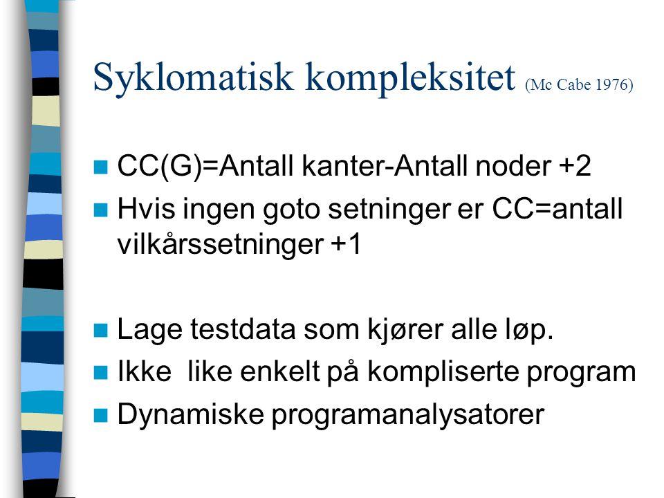 Syklomatisk kompleksitet (Mc Cabe 1976) CC(G)=Antall kanter-Antall noder +2 Hvis ingen goto setninger er CC=antall vilkårssetninger +1 Lage testdata som kjører alle løp.