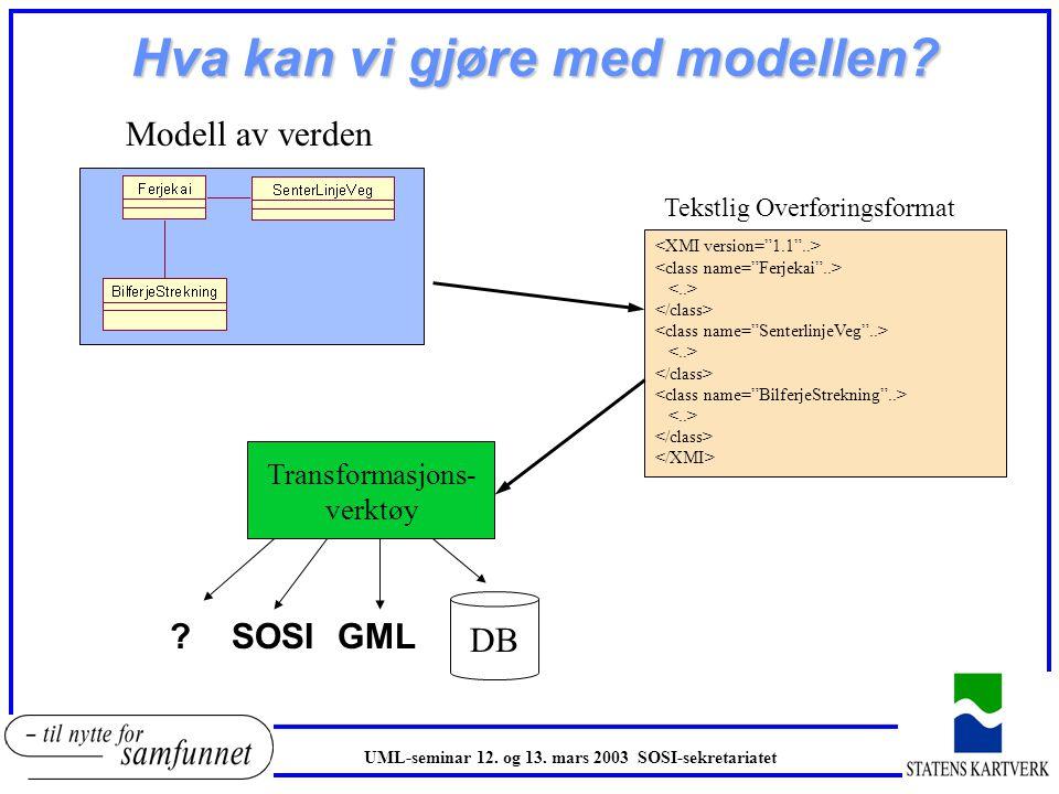 Rettledning oEn fullstending objektkatalog beskrevet i UML er verdifull! oEn slik objektkatalog gir grunnlaget for mye av arbeidet innen geografisk in
