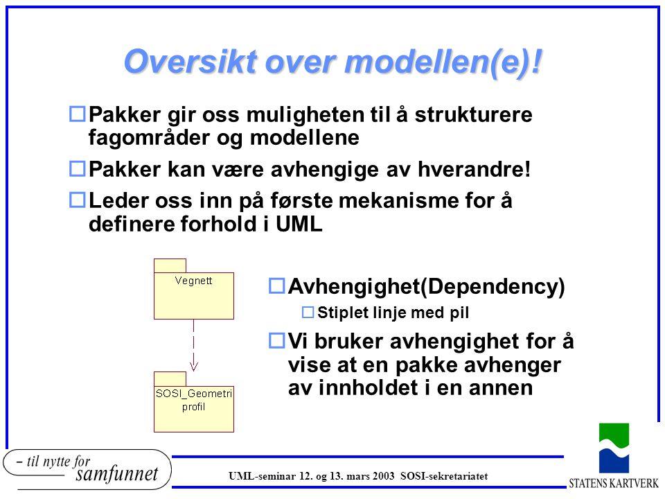 Inndeling av objektkatalogen! oHvert SOSI fagområde former en pakke i UML oEn pakke har et navn, typisk navn på fagområde oEn UML pakke grupperer obje