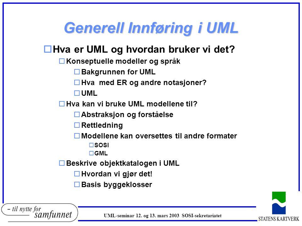 Innføring i UML UML-seminar 12. og 13. mars 2003 SOSI-sekretariatet