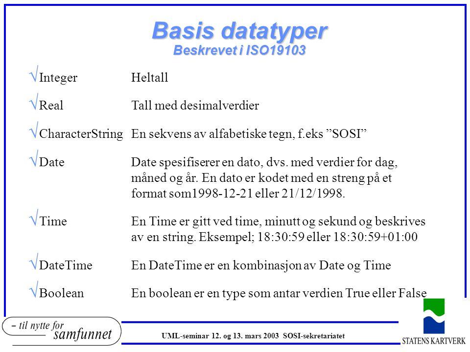 Egenskapstyper (datatyper) oEnhver egenskap relaterer til et verdidomene oEgenskaper i UML er assosiert med en datatype som beskriver verdidomenet til egenskapen oEksempel fra SOSI og UML:..GNR H4..BNR H4..FNR H4 GID: gårdsNr : Integer bruksNr : Integer festeNr : Integer oDatatypen Integer angir heltall oInteger tilhørerer basis datatyper UML-seminar 12.