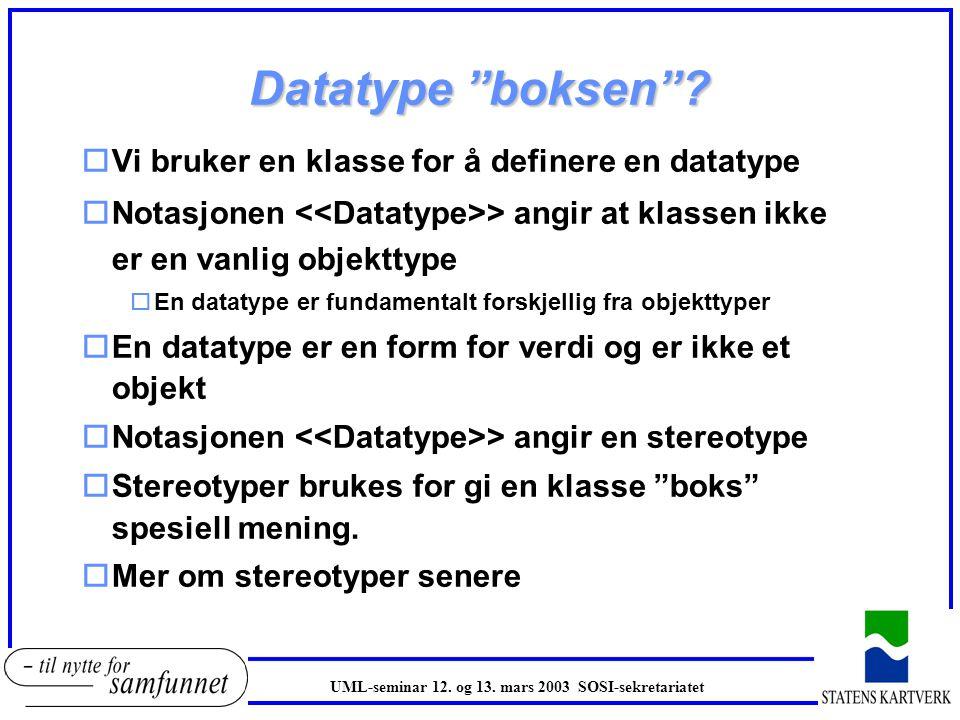 Eksempel brukerdefinerte datatyper oGruppeegenskaper i SOSI lager vi datatyper av oForenkler modellen og tilbyr gjenbruk av verdidomenet til egenskapen oGodt eksempel er veglenke fra Vegnett VegLenke + vegType[0..1] : VegNummer + vegParsell : VegParsell + kjørefeltNummer : CharacterString + veglenkeDato : Date > VegNummer + vegType : CharacterString + vegStatus : CharacterString + vegNummer : Integer > VegParsell + hovedParsell : Integer + veglenkeMeterFra : Integer + veglenkeMeterTil : Integer > UML-seminar 12.