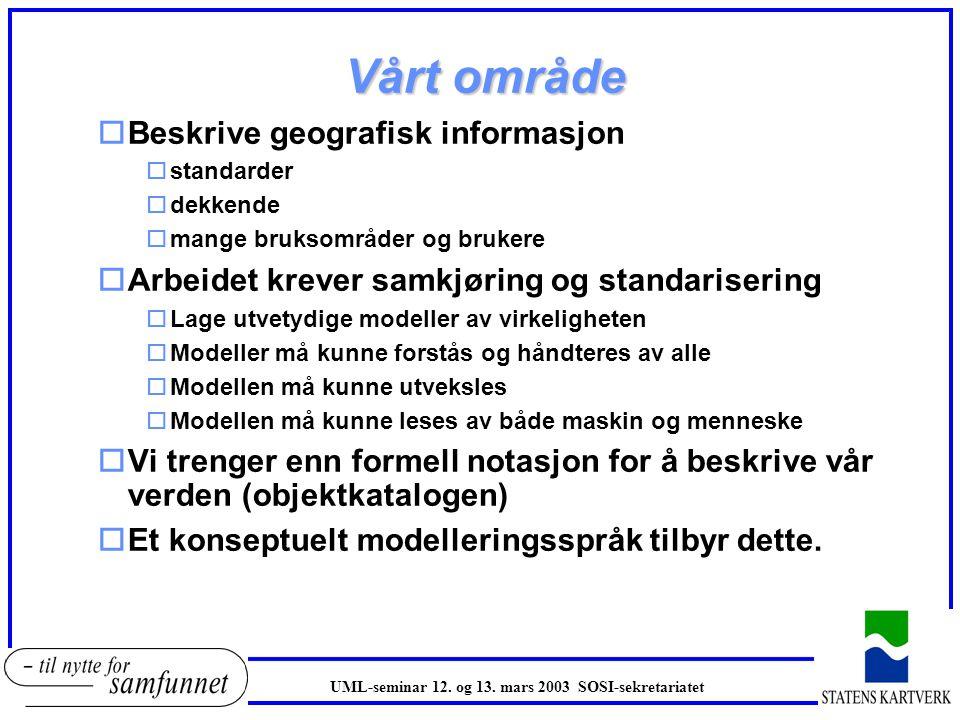 UML i forhold til ER oUML er laget for å modellere systemer oDesign og analyse av dataprogrammer oBoksene i UML er ikke nødvendigvis objekttyper oKan beskrive oppførsel og interaksjon oER beskriver bare objekttyper (entiteter) og forhold (relationship) orettet mot tradisjonelle relasjonsdatabaser obeskriver ikke oppførsel oUML er mer fleksibelt oOmfattende notasjon oKnyttet opp mot programmeringsspråk, men kan brukes til mange formål oEtt subsett av UML tilbyr alt det ER har oUML modeller uttrykker mer semantikk.