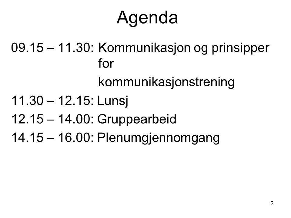 2 Agenda 09.15 – 11.30: Kommunikasjon og prinsipper for kommunikasjonstrening 11.30 – 12.15: Lunsj 12.15 – 14.00: Gruppearbeid 14.15 – 16.00: Plenumgj