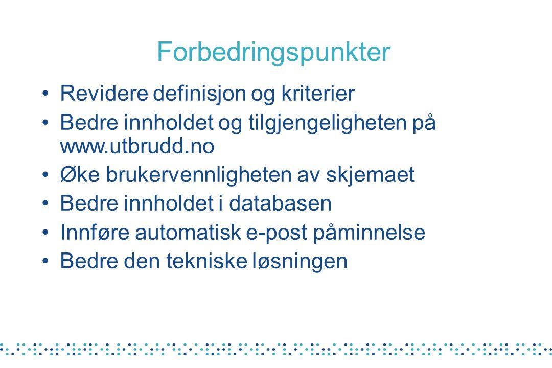 Revidere definisjon og kriterier Bedre innholdet og tilgjengeligheten på www.utbrudd.no Øke brukervennligheten av skjemaet Bedre innholdet i databasen Innføre automatisk e-post påminnelse Bedre den tekniske løsningen Forbedringspunkter