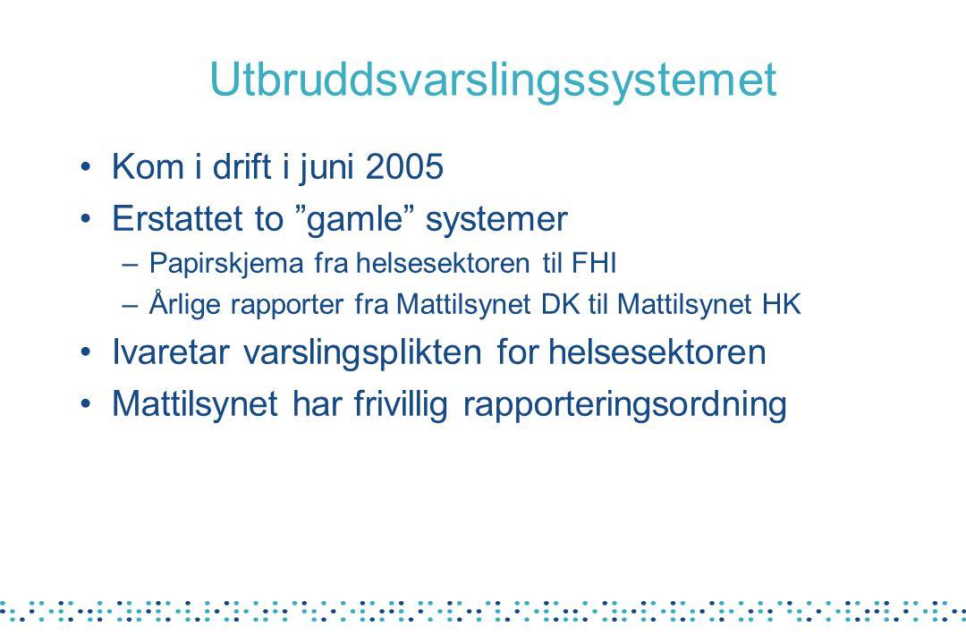 """Utbruddsvarslingssystemet Kom i drift i juni 2005 Erstattet to """"gamle"""" systemer –Papirskjema fra helsesektoren til FHI –Årlige rapporter fra Mattilsyn"""