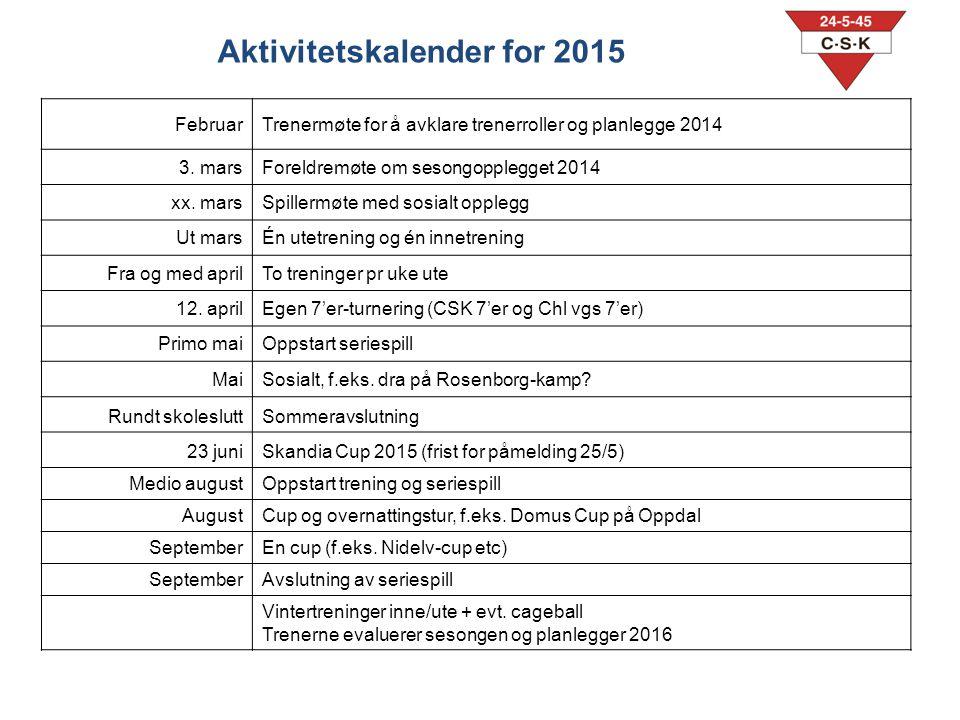 FebruarTrenermøte for å avklare trenerroller og planlegge 2014 3.