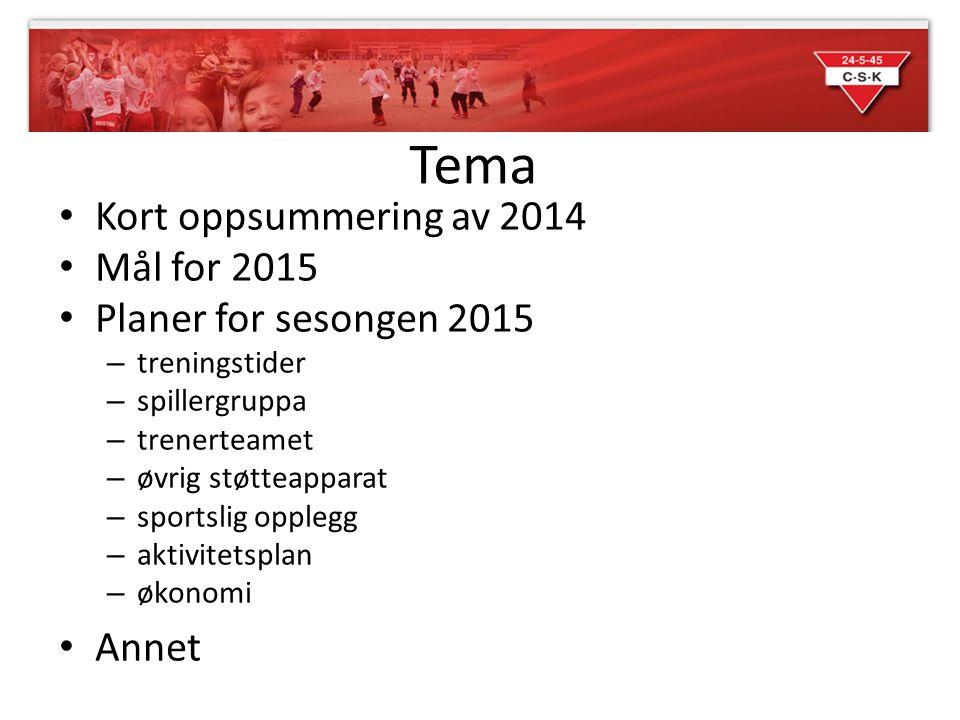 Tema Kort oppsummering av 2014 Mål for 2015 Planer for sesongen 2015 – treningstider – spillergruppa – trenerteamet – øvrig støtteapparat – sportslig opplegg – aktivitetsplan – økonomi Annet