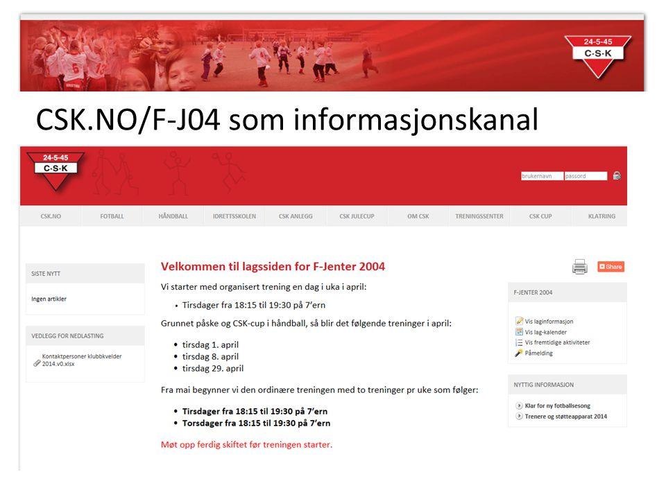 CSK.NO/F-J04 som informasjonskanal