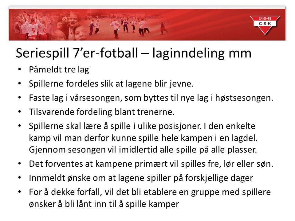 Seriespill 7'er-fotball – laginndeling mm Påmeldt tre lag Spillerne fordeles slik at lagene blir jevne.