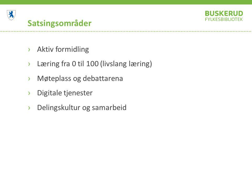 Satsingsområder ›Aktiv formidling ›Læring fra 0 til 100 (livslang læring) ›Møteplass og debattarena ›Digitale tjenester ›Delingskultur og samarbeid