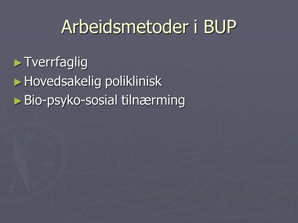 Arbeidsmetoder i BUP ► Tverrfaglig ► Hovedsakelig poliklinisk ► Bio-psyko-sosial tilnærming