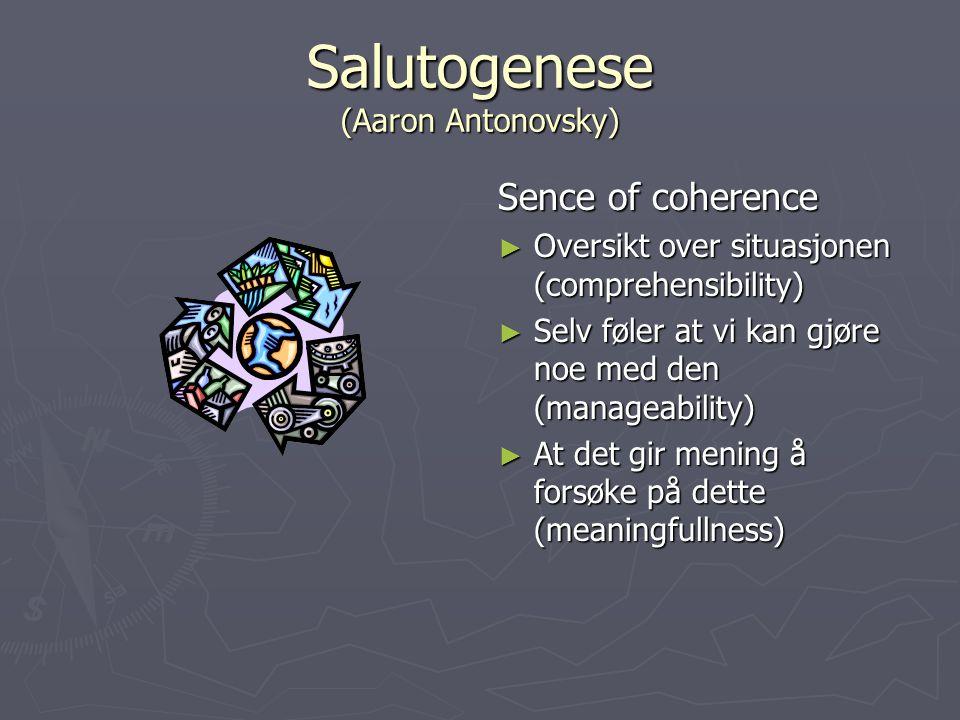 Salutogenese (Aaron Antonovsky) Sence of coherence ► Oversikt over situasjonen (comprehensibility) ► Selv føler at vi kan gjøre noe med den (manageability) ► At det gir mening å forsøke på dette (meaningfullness)