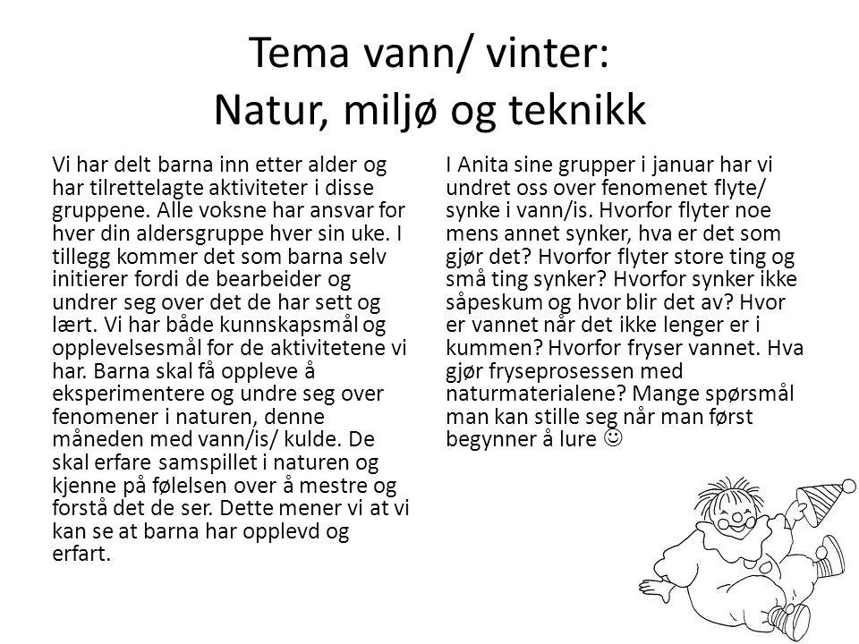 Tema: vann/vinter Denne måneden har temaet vært vann og vinter.