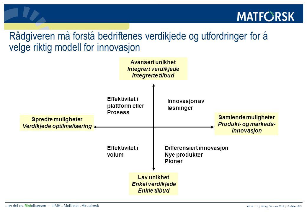 - en del av Mat alliansen : UMB - Matforsk - Akvaforsk Ark nr.: 11 | lørdag, 28. mars 2015 | Forfatter: ØFJ Rådgiveren må forstå bedriftenes verdikjed