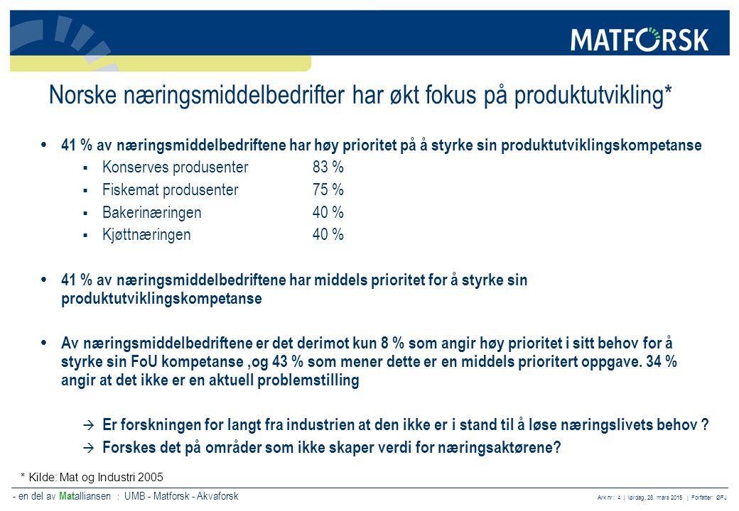 - en del av Mat alliansen : UMB - Matforsk - Akvaforsk Ark nr.: 4 | lørdag, 28. mars 2015 | Forfatter: ØFJ Norske næringsmiddelbedrifter har økt fokus