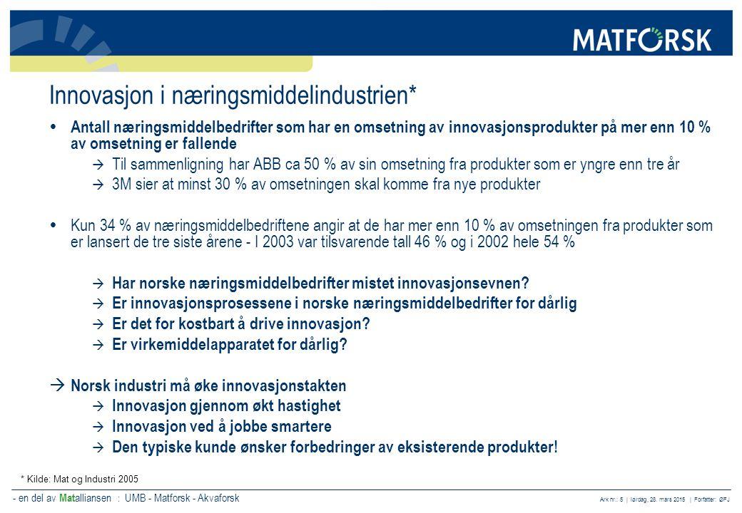 - en del av Mat alliansen : UMB - Matforsk - Akvaforsk Ark nr.: 5 | lørdag, 28. mars 2015 | Forfatter: ØFJ Innovasjon i næringsmiddelindustrien*  Ant