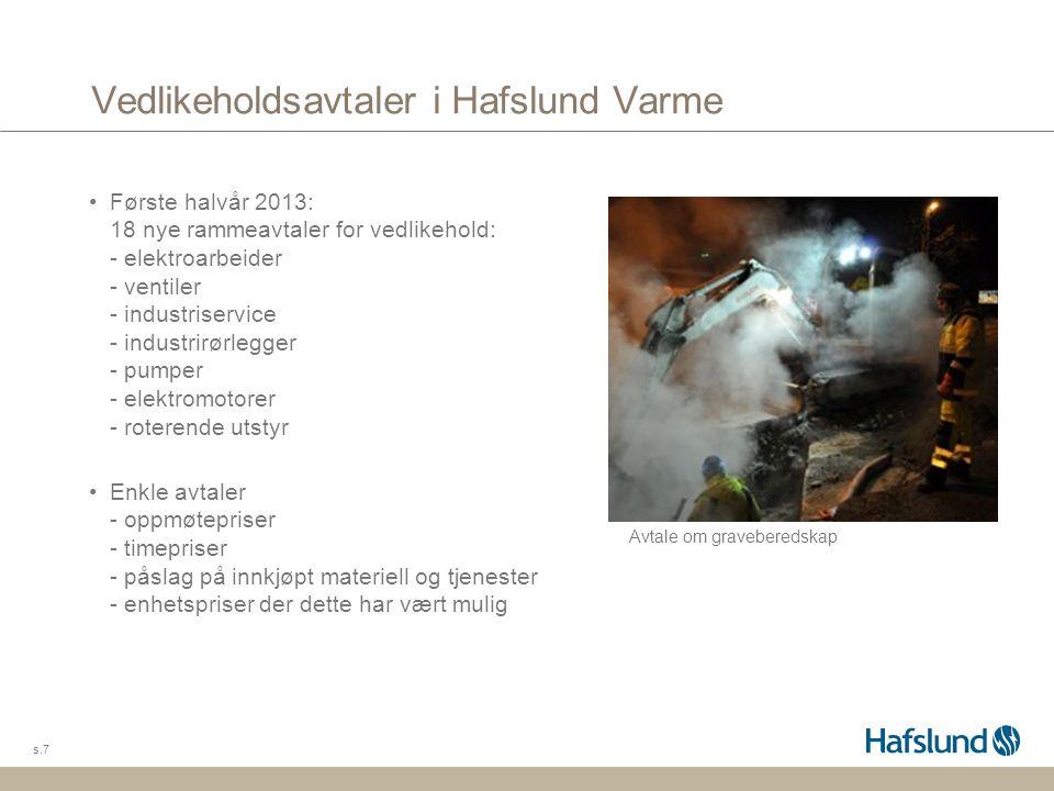 Vedlikeholdsavtaler i Hafslund Varme s.7 Første halvår 2013: 18 nye rammeavtaler for vedlikehold: - elektroarbeider - ventiler - industriservice - ind
