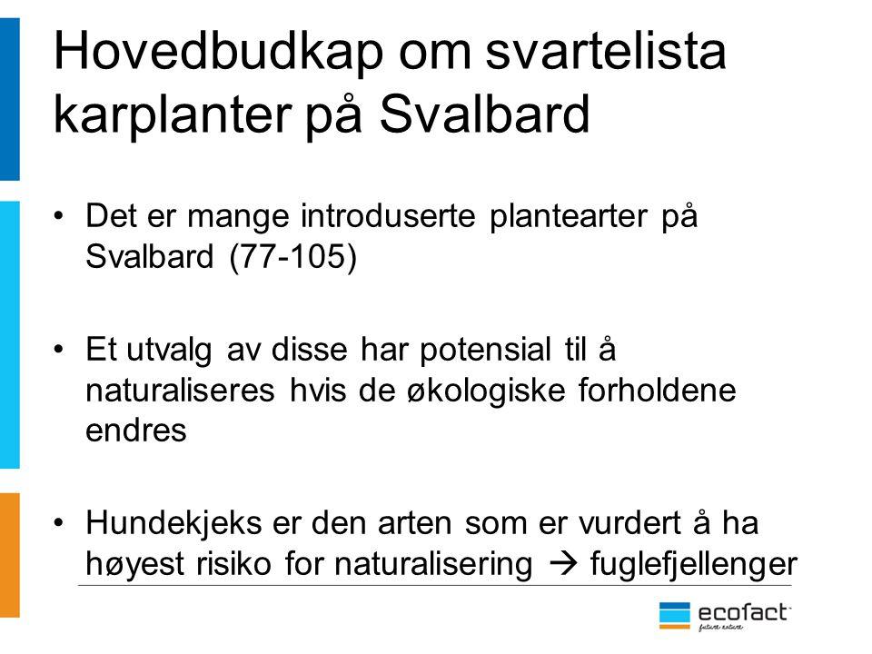 Hovedbudkap om svartelista karplanter på Svalbard Det er mange introduserte plantearter på Svalbard (77-105) Et utvalg av disse har potensial til å na