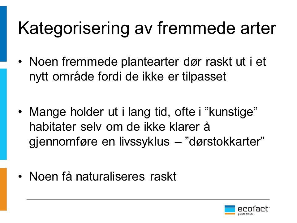 Dørstokkartene utgjør en potensiell risiko Kan naturaliseres hvis de generelle økologiske forholdene endres 9 dørstokkarter er risikovurdert for Svalbard