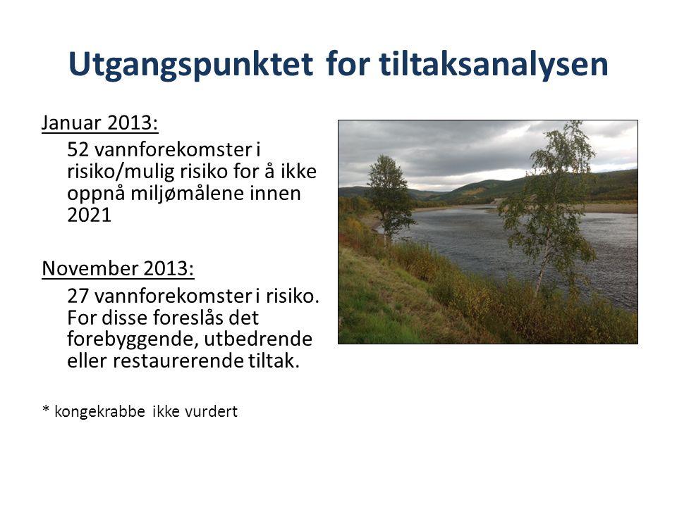 Utgangspunktet for tiltaksanalysen Januar 2013: 52 vannforekomster i risiko/mulig risiko for å ikke oppnå miljømålene innen 2021 November 2013: 27 vannforekomster i risiko.