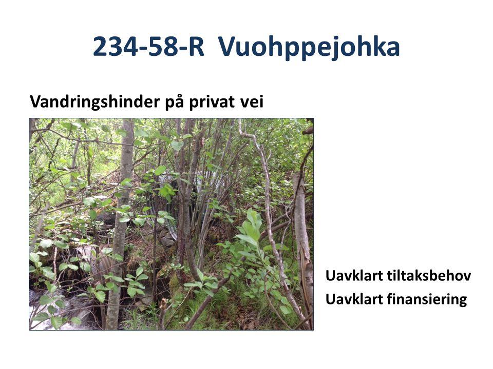 234-58-R Vuohppejohka Vandringshinder på privat vei Uavklart tiltaksbehov Uavklart finansiering
