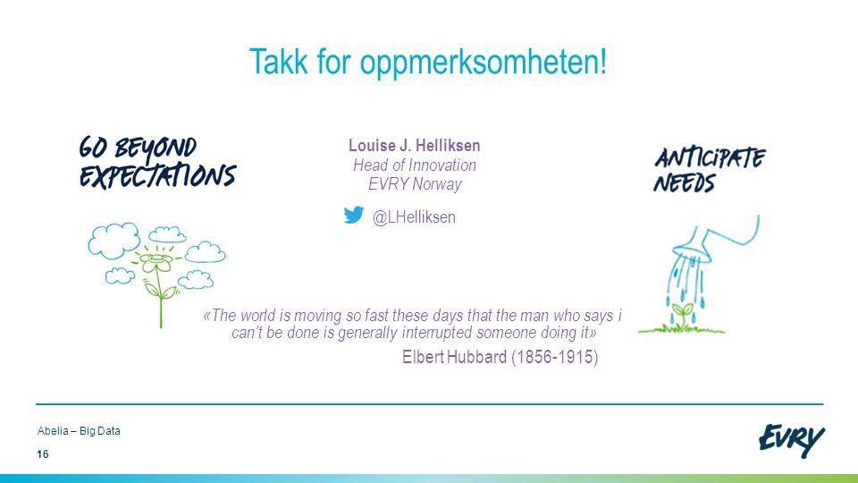 16 Abelia – Big Data Takk for oppmerksomheten! Louise J. Helliksen Head of Innovation EVRY Norway @LHelliksen «The world is moving so fast these days