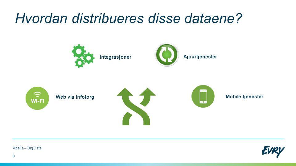 8 Abelia – Big Data Web via Infotorg Integrasjoner Ajourtjenester Mobile tjenester Hvordan distribueres disse dataene?