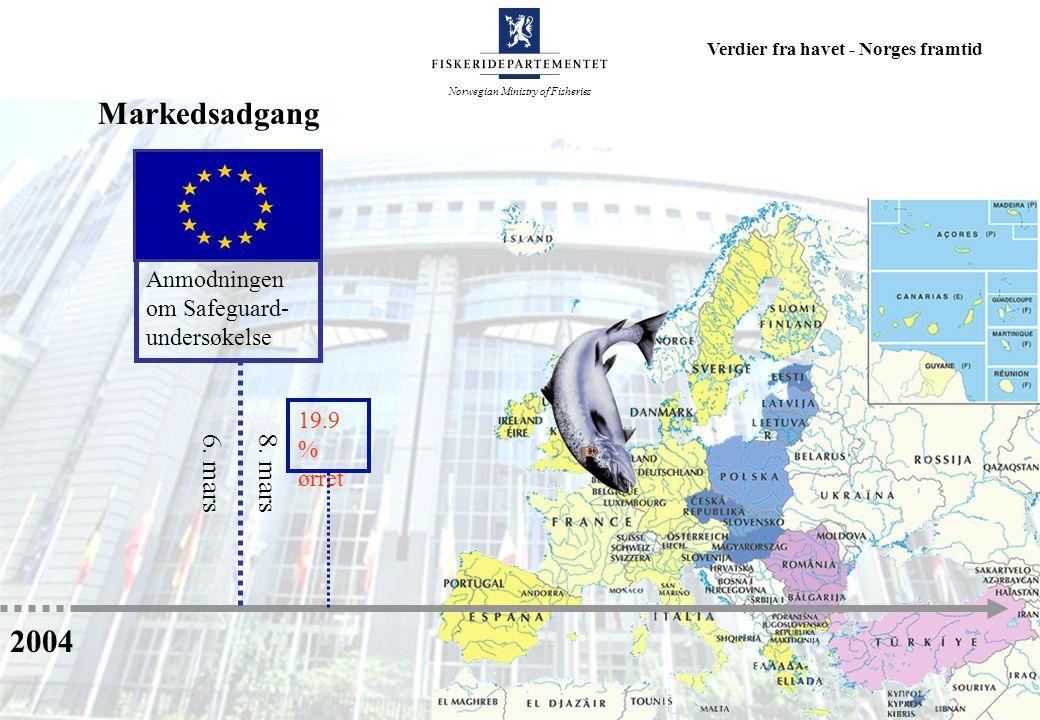 Norwegian Ministry of Fisheries Verdier fra havet - Norges framtid Anmodningen om Safeguard- undersøkelse 2004 6.