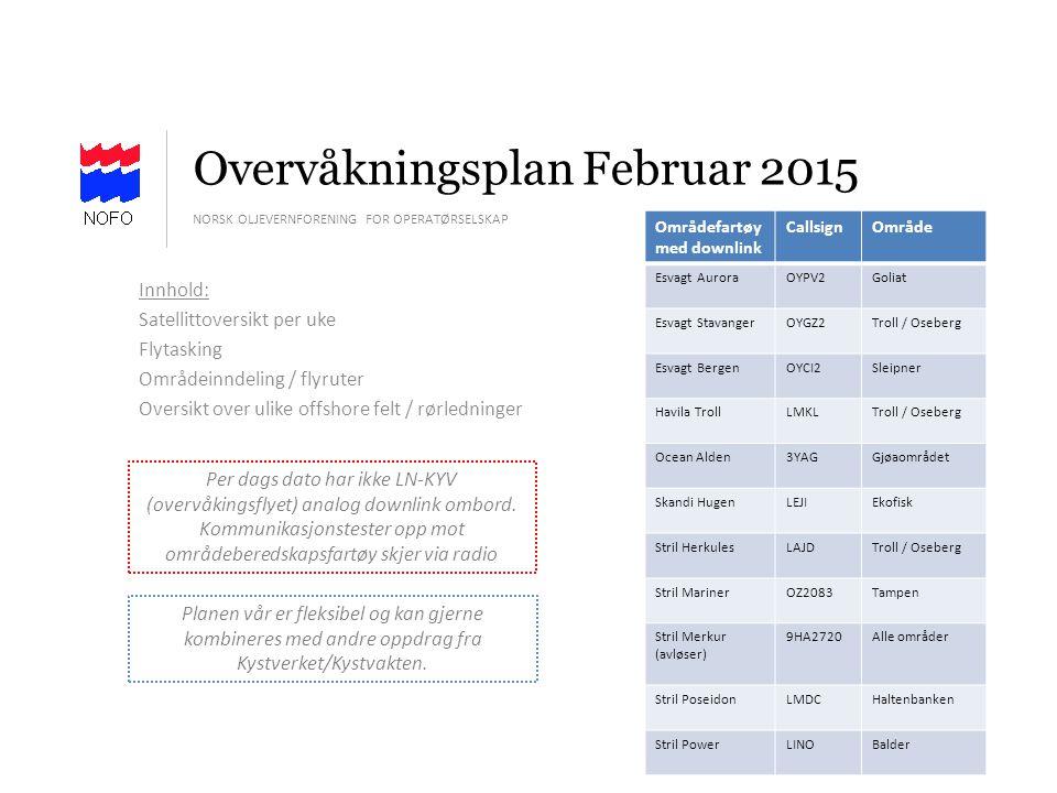Overvåkningsplan Februar 2015 NORSK OLJEVERNFORENING FOR OPERATØRSELSKAP Innhold: Satellittoversikt per uke Flytasking Områdeinndeling / flyruter Over