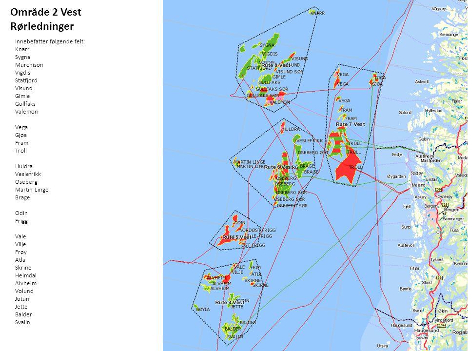 Område 2 Vest Rørledninger Innebefatter følgende felt: Knarr Sygna Murchison Vigdis Statfjord Visund Gimle Gullfaks Valemon Vega Gjøa Fram Troll Huldr