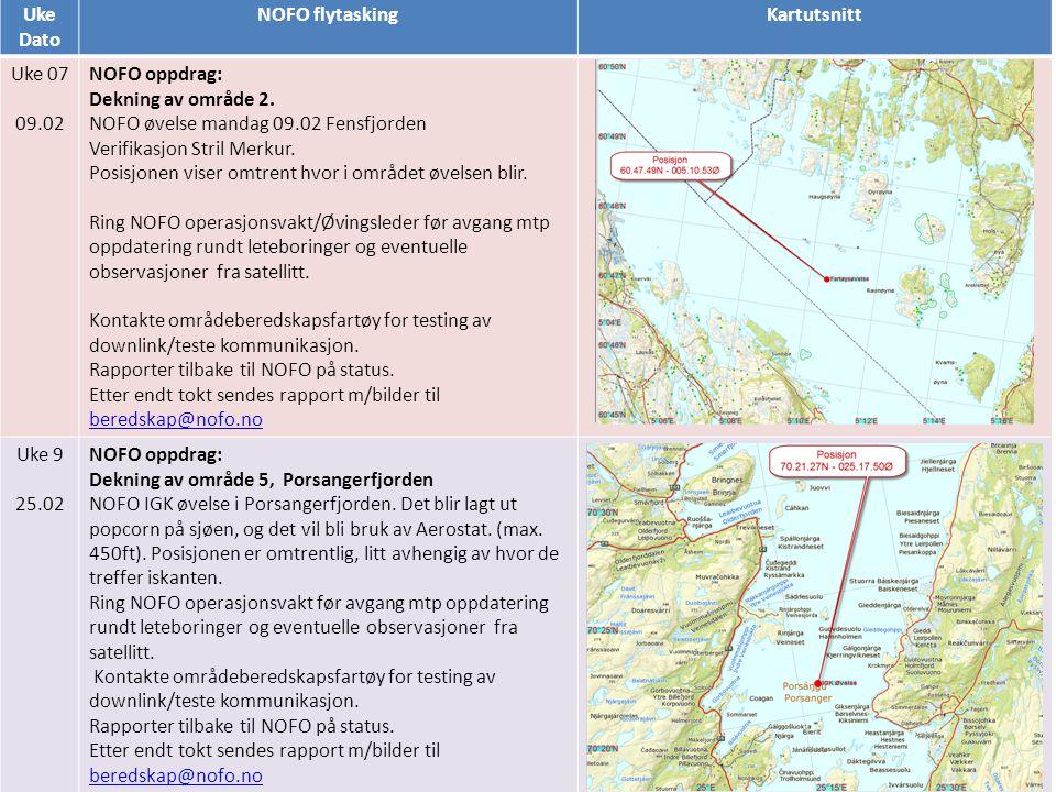 Uke Dato NOFO flytaskingKartutsnitt Uke 07 09.02 NOFO oppdrag: Dekning av område 2. NOFO øvelse mandag 09.02 Fensfjorden Verifikasjon Stril Merkur. Po
