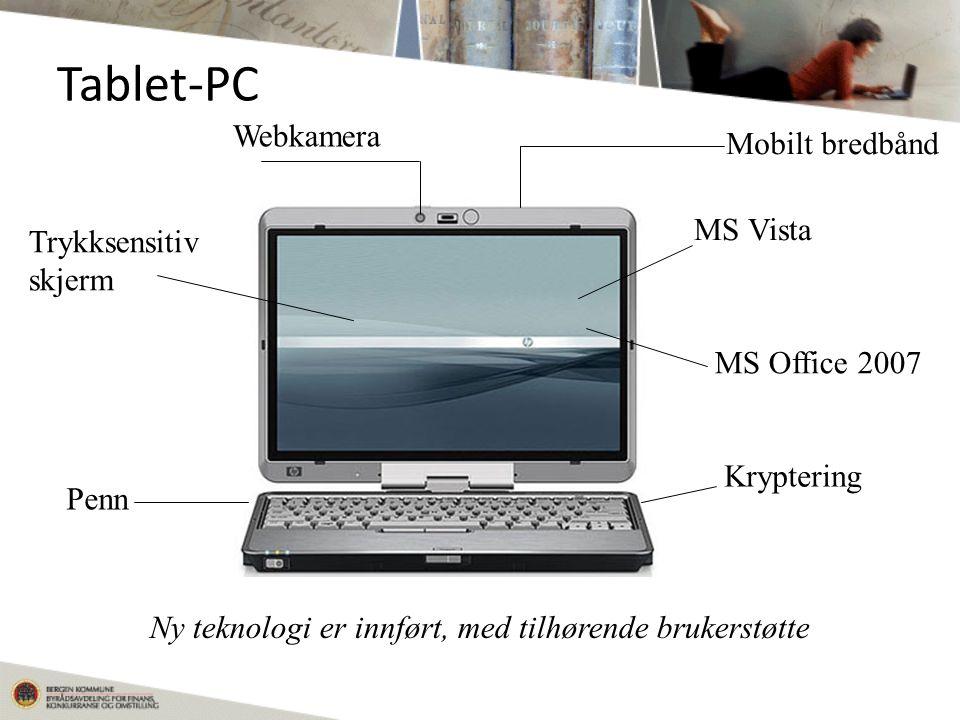 Tablet-PC Mobilt bredbånd Webkamera Penn Trykksensitiv skjerm Kryptering MS Vista MS Office 2007 Ny teknologi er innført, med tilhørende brukerstøtte