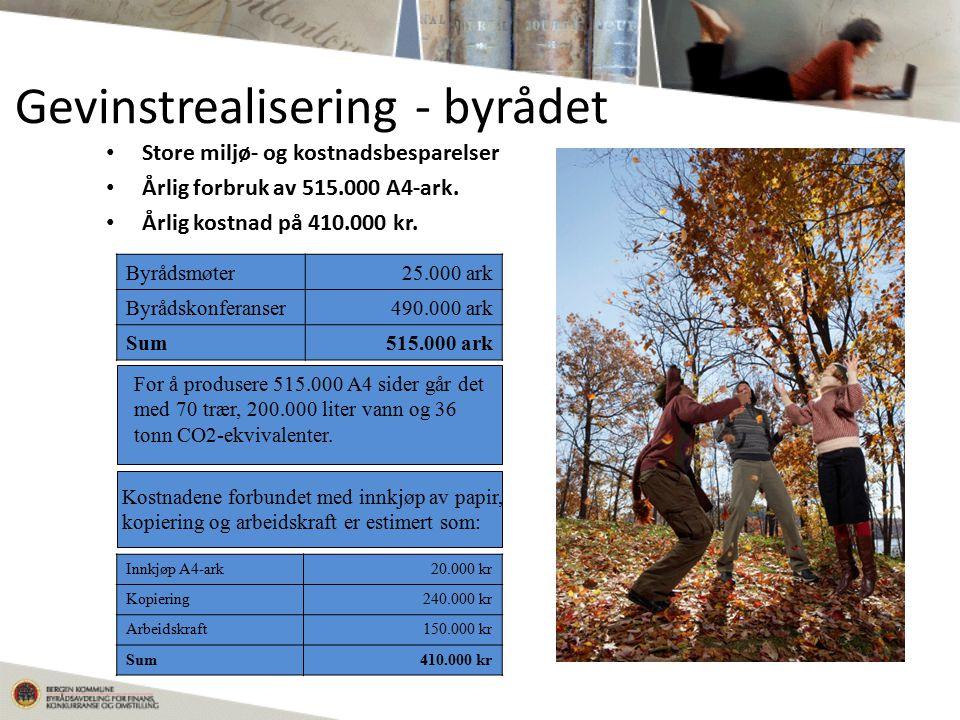 Gevinstrealisering - byrådet Store miljø- og kostnadsbesparelser Årlig forbruk av 515.000 A4-ark.