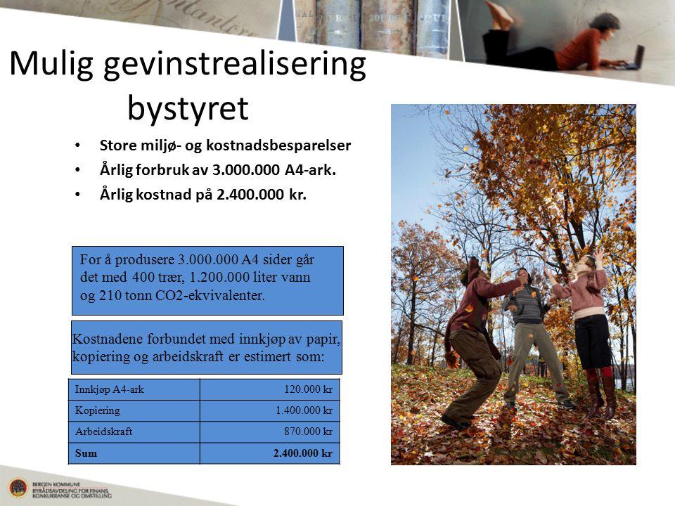 Mulig gevinstrealisering bystyret Store miljø- og kostnadsbesparelser Årlig forbruk av 3.000.000 A4-ark.