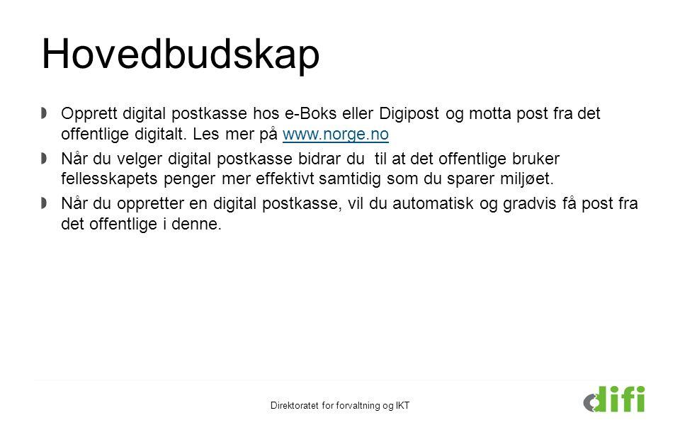 Hovedbudskap Opprett digital postkasse hos e-Boks eller Digipost og motta post fra det offentlige digitalt. Les mer på www.norge.nowww.norge.no Når du