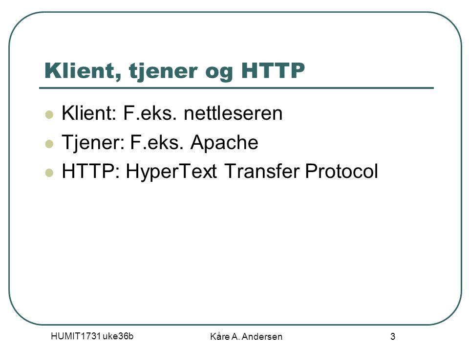 HUMIT1731 uke36b Kåre A. Andersen 3 Klient, tjener og HTTP Klient: F.eks.