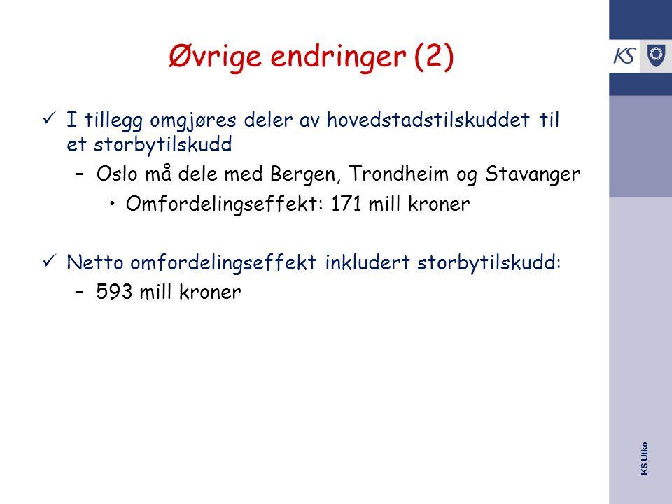 KS Utko Øvrige endringer (2) I tillegg omgjøres deler av hovedstadstilskuddet til et storbytilskudd –Oslo må dele med Bergen, Trondheim og Stavanger Omfordelingseffekt: 171 mill kroner Netto omfordelingseffekt inkludert storbytilskudd: –593 mill kroner