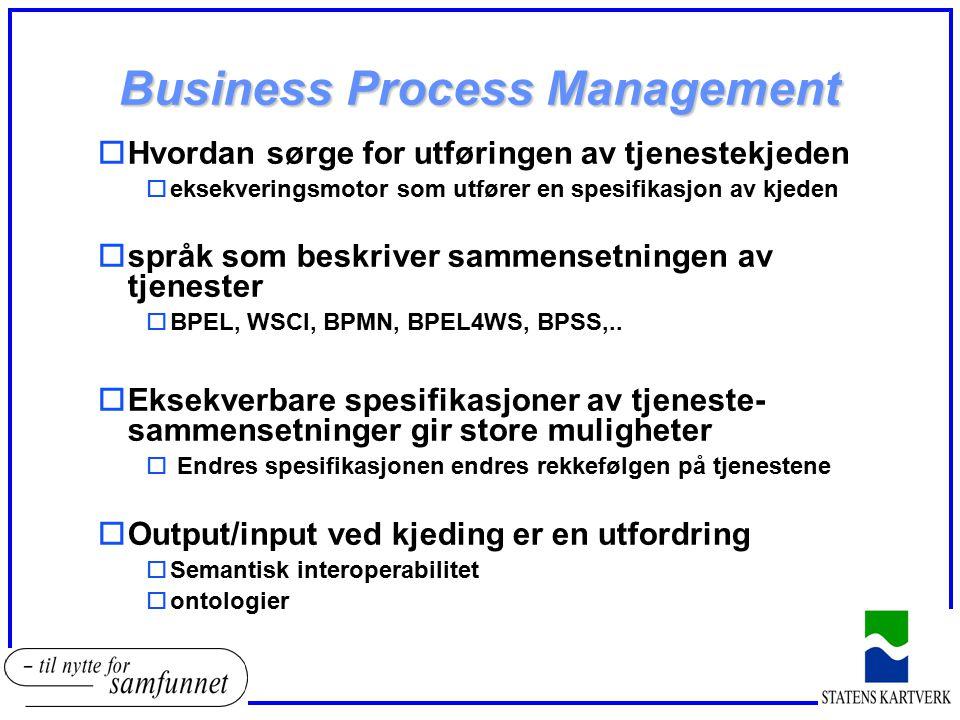 Business Process Management oHvordan sørge for utføringen av tjenestekjeden oeksekveringsmotor som utfører en spesifikasjon av kjeden ospråk som beskr