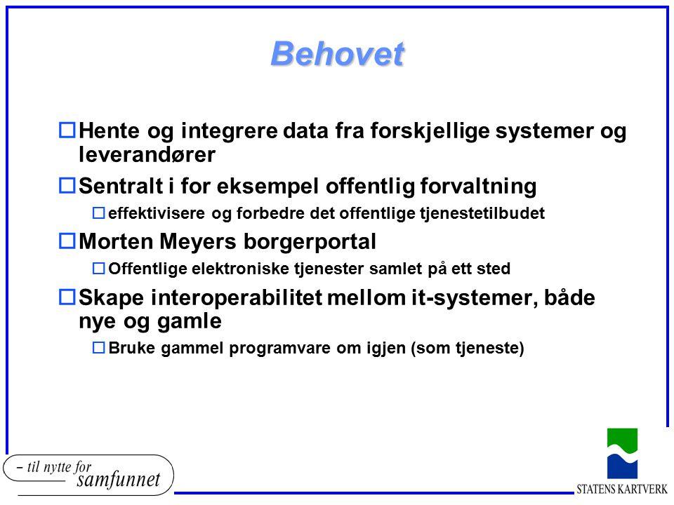 Behovet oHente og integrere data fra forskjellige systemer og leverandører oSentralt i for eksempel offentlig forvaltning oeffektivisere og forbedre d