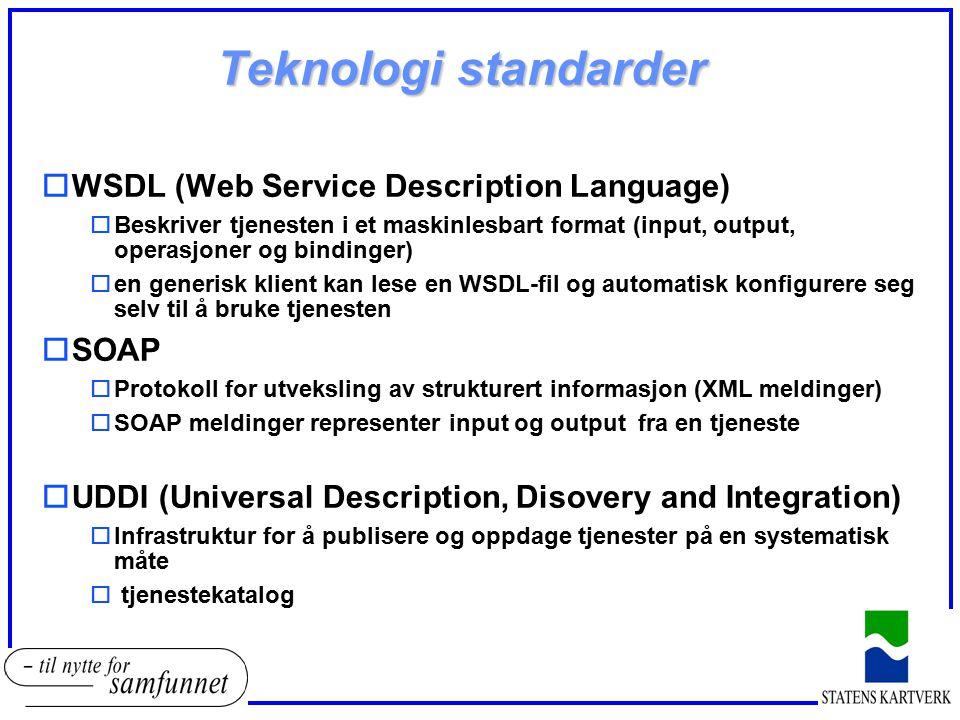 Teknologi standarder oWSDL (Web Service Description Language) oBeskriver tjenesten i et maskinlesbart format (input, output, operasjoner og bindinger)