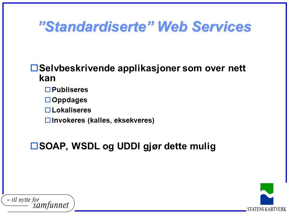 """""""Standardiserte"""" Web Services oSelvbeskrivende applikasjoner som over nett kan oPubliseres oOppdages oLokaliseres oInvokeres (kalles, eksekveres) oSOA"""