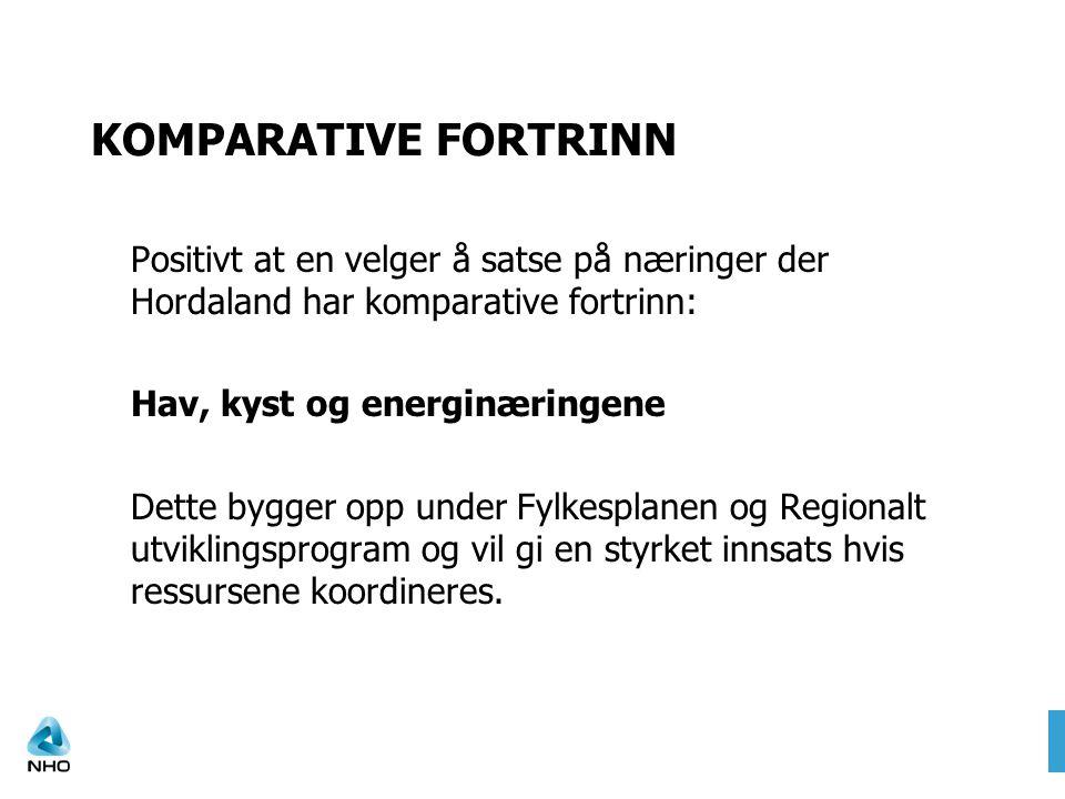 KOMPARATIVE FORTRINN Positivt at en velger å satse på næringer der Hordaland har komparative fortrinn: Hav, kyst og energinæringene Dette bygger opp u