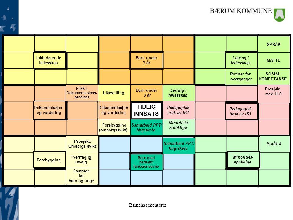 Barnehagekontoret 781 781 6 6 TIDLIG INNSATS 2 2 543 543 Samarbeid PPT/ bhg/skole Pedagogisk bruk av IKT Minoritets- språklige Likestilling Læring i fellesskap Forebygging (omsorgssvikt) Småbarn Dokumentasjon og vurdering Læring i fellesskap SPRÅK MATTE SOSIAL KOMPETANSE Rutiner for overganger Pedagogisk bruk av IKT Prosjekt med HiO Minoritets- språklige Samarbeid PPT/ bhg/skole Forebygging Prosjekt: Omsorgs-svikt Tverrfaglig utvalg Sammen for barn og unge Dokumentasjon og vurdering Inkluderende fellesskap Barn under 3 år Barn under 3 år Etikk i Dokumentasjons- arbeidet Språk 4 Barn med nedsatt funksjonsevne