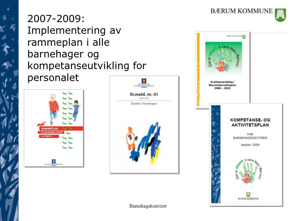 Barnehagekontoret 2007-2009: Implementering av rammeplan i alle barnehager og kompetanseutvikling for personalet