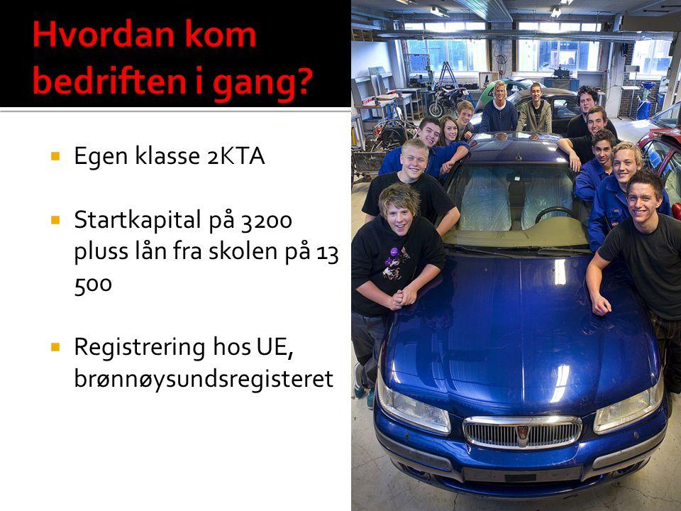  Egen klasse 2KTA  Startkapital på 3200 pluss lån fra skolen på 13 500  Registrering hos UE, brønnøysundsregisteret