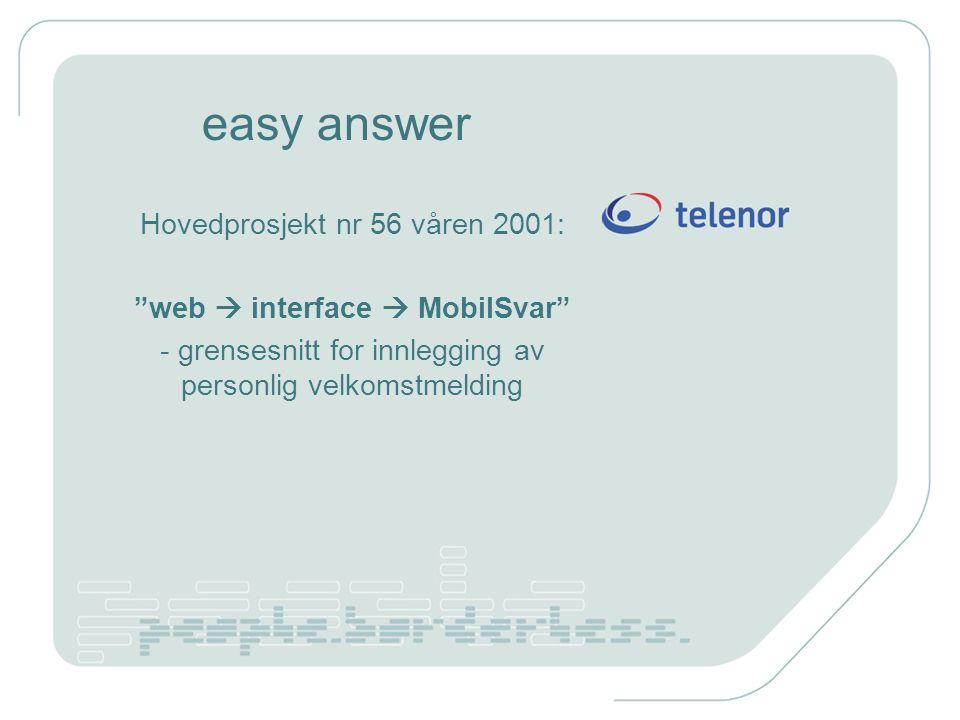"""easy answer Hovedprosjekt nr 56 våren 2001: """"web  interface  MobilSvar"""" - grensesnitt for innlegging av personlig velkomstmelding"""