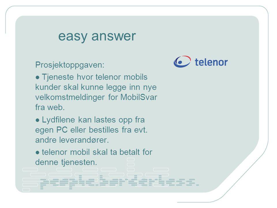easy answer Prosjektoppgaven: Tjeneste hvor telenor mobils kunder skal kunne legge inn nye velkomstmeldinger for MobilSvar fra web. Lydfilene kan last